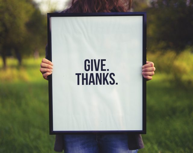 gratitude give thanks sign